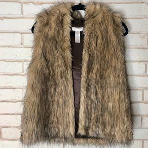 Vintage Kenar Faux Fur Hooded Vest Sz M